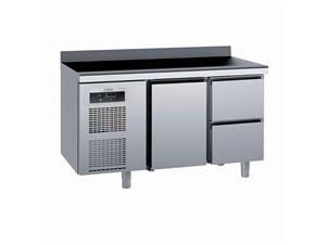 Kühlpult SAGI KUEA2A 140cm:     Abmessungen: B 1400/ T 700/ H 985    Aufteilung Türen/Laden: 1 Tür,