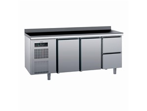 Kühlpult SAGI KUEB2A 185cm:     Abmessungen: B 1850/ T 700/ H 985    Aufteilung Türen/Laden: 2 Türen