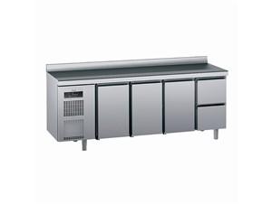 Kühlpult SAGI KUEC2A 230cm:     Abmessungen: B 2300/ T 700/ H 985    Aufteilung Türen/Laden: 3Türen