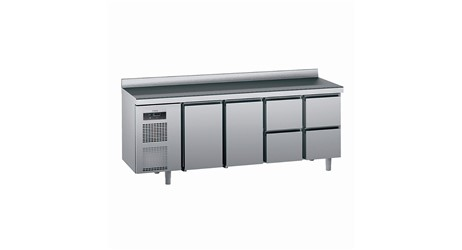Kühlpult SAGI KUEC4A 230cm:     Abmessungen: B 2300/ T 700/ H 985    Aufteilung Türen/Laden: 2Türen