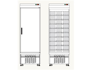 Eislagerschrank TEKNA 5010 Hi:     Abmessungen: B 670/ T 890/ H2250    Fassungsvermögen/Inhalt: 60 Eiss