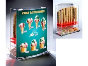 """Eistütenhalter """"Wonderful"""" mit Plexiglasscheibe für Reklame"""
