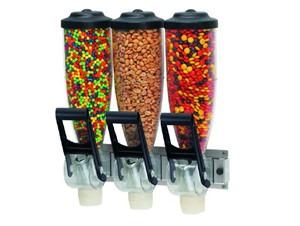 Portionierspender für trockene Toppings:    Dreifachspender für trockene Lebensmittel.    Auch in 1-,2-facher Ausführ