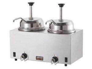 Doppeltes Topping-/Saucen Wärme- und Portioniergerät mit Pumpe.:    Zwei Edelstahl Wasserbad Wärmer mit 2 Pumpen.    Ausgabe aus 2,8L Edelsta