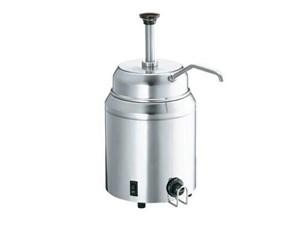 Topping-/Saucen Wärme- und Portioniergerät mit Pumpe.:   Edelstahl Wasserbad Wärmer mit Pumpe.   Ausgabe aus einem 2,8L Edelstahlge